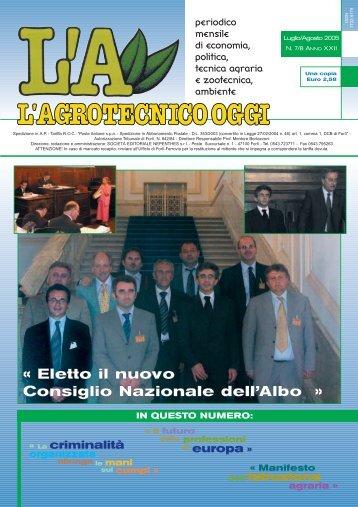 L'Agrotecnico Oggi luglio/agosto 05 - Collegio Nazionale degli ...