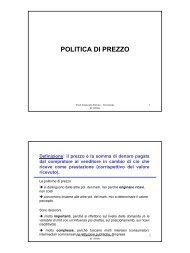 POLITICA DI PREZZO - Università di Urbino