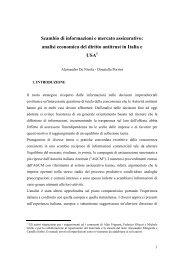 Scambio di informazioni e mercato assicurativo: analisi ... - Ania