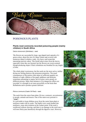Poisonous plants in your garden - Babygrow.co.za