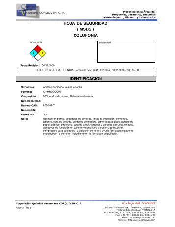 hoja de seguridad colofonia ( msds ) identificacion - Corporación ...