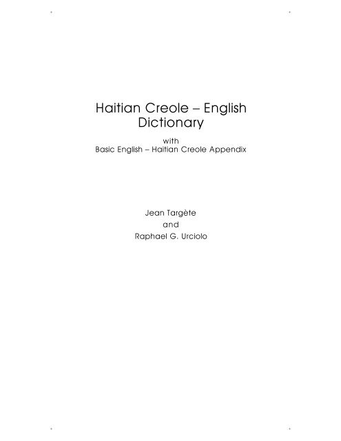 Haitian Creole English Dictionary Dunwoody Press