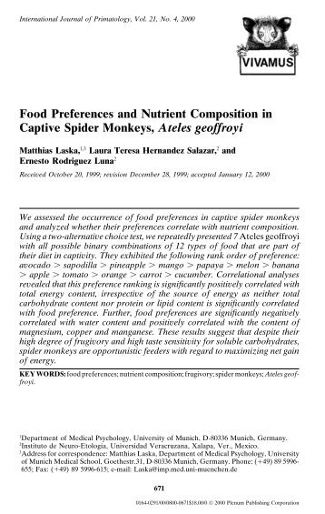 Food Preferences and Nutrient Composition in Captive Spider ... - IFM
