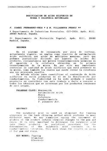 DOSIFICACION DE ACIDO SULFURICO EN MIERA Y COLOFONIA ...