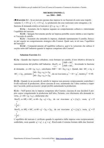 Esercizi capp. 10, 11. - Scienze economiche e metodi matematici