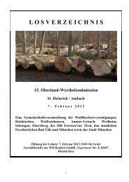 Das Losverzeichnis der 15. Oberland-Wertholzsubmission