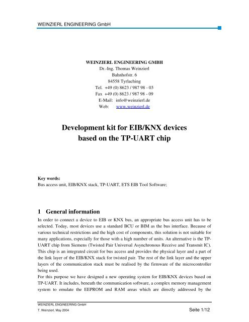 Development kit for EIB/KNX devices based on the TP-UART chip