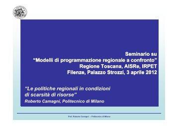 Presentazione di Roberto Camagni - Irpet