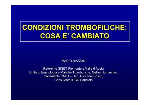 condizioni trombofiliche - PATCLIN, argomenti di patologia clinica