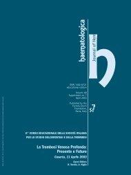 La Trombosi Venosa Profonda: Presente e Futuro - Supplements ...