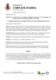 ordinanza n. 62 stella massimo x valtellina spa - Comune di Cornate ...