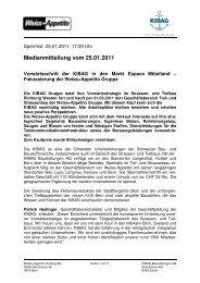 25.01.2011 Vorwärtsschritt der KIBAG in den Markt ... - Weiss+Appetito