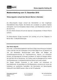 13.12.2010 Weiss+Appetito verkauft den Bereich Marine in Muntelier