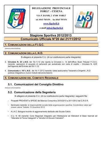 Stagione Sportiva 2012/2013 Comunicato Ufficiale N°20 ... - Figc Forlì
