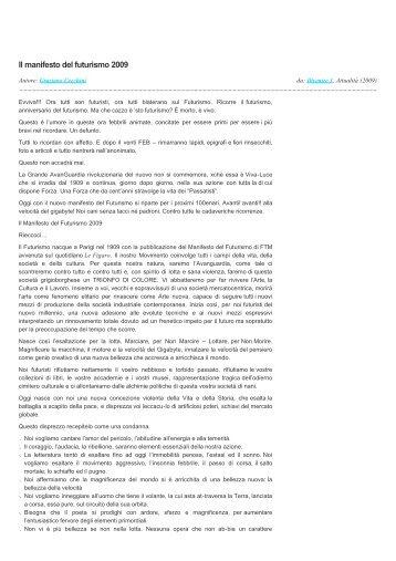 Divenire — Divenire 3: Il manifesto del futurismo 2009