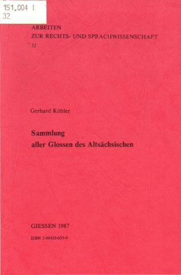 Sammlung aller Glossen des Altsächsischen, 1987