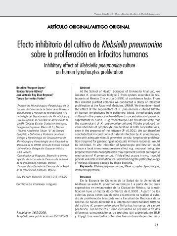 Efecto inhibitorio del cultivo de Klebsiella pneumoniae sobre la ...