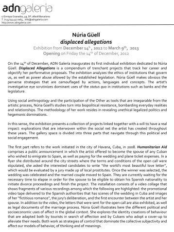 Núria Güell displaced allegations - Galeria ADN