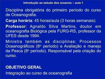 Introdução ao estudo dos oceanos – aula 1