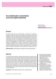 As considerações e comentários acerca do capital intelectual