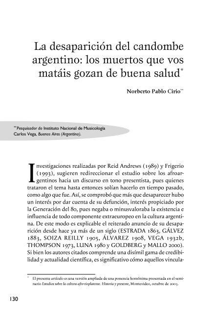 La desaparición del candombe argentino: los muertos que ... - Cebela
