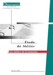 ETUDES FORMATION - L'Observatoire de l'Evolution des Metiers de ...