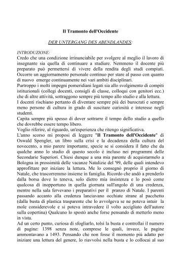 Rosanna Sciutti, Il tramonto dell'Occidente - Portale per l'educazione
