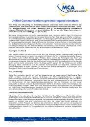 Unified Communications gewinnbringend einsetzen - MCA GmbH