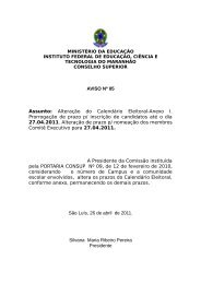 AVISO Nº 05 Assunto: Alteração do Calendário Eleitoral ... - Ifma