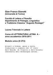 Letteratura Latina A - Università degli Studi di Torino