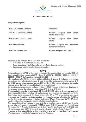 Decisione n. 114 del 9 gennaio 2013 - Arbitro Bancario Finanziario
