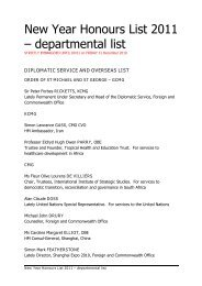 New Year Honours list 2011 – departmental list - Gov.uk