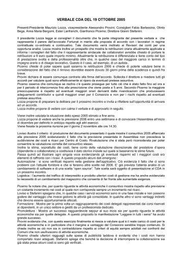 VERBALE CDA DEL 19 OTTOBRE 2005