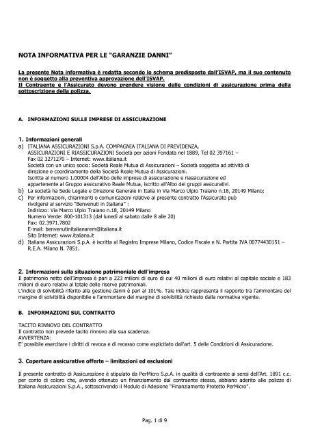 FINANZIAMENTO PROTETTO PERMICRO - Italiana Assicurazioni