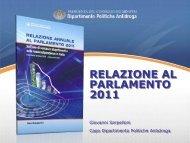 RELAZIONE AL PARLAMENTO 2011 - Ministero Dell'Interno