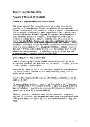 Tema 1: Empreendedorismo Assunto 3: O plano de ... - EAD Sebrae