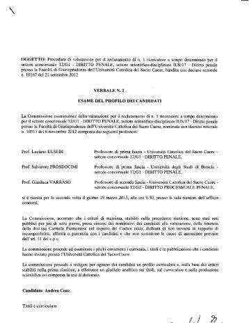 Verbale n. 2 - Università Cattolica del Sacro Cuore