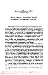 Analisi contrastiva di elementi di coesione nel linguaggio del ...