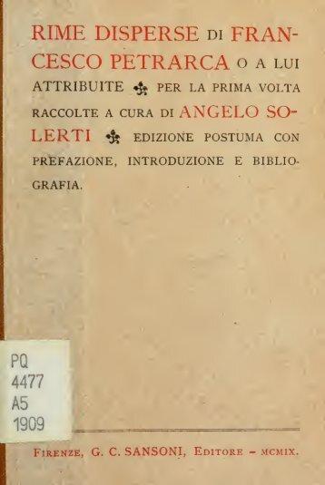 Rime disperse di Francesco Petrarca, o a lui attribuite