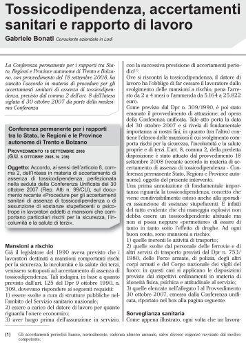 Tossicodipendenza, accertamenti sanitari e rapporto di lavoro - Filbi