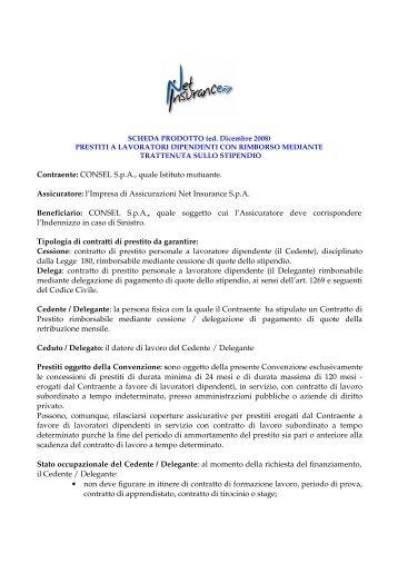 SCHEDA PRODOTTO (ed. Dicembre 2008) - Consel