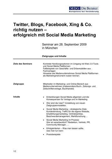 Twitter, Blogs, Facebook, Xing & Co. richtig nutzen ... - MDG
