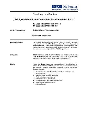 Erfolgreich mit Ihrem Domladen, Schriftenstand & Co. - MDG