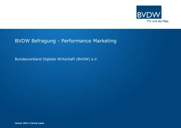 BVDW Befragung - Performance Marketing - media4more