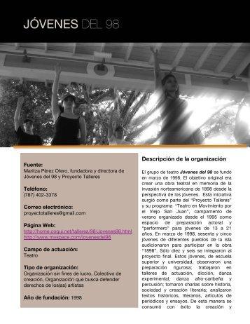Jóvenes del 98 y Proyecto Talleres - Mapa Cultural
