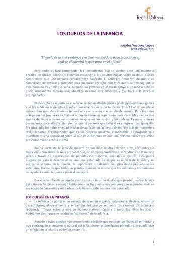 LOS DUELOS DE LA INFANCIA - Duelo y Pérdida
