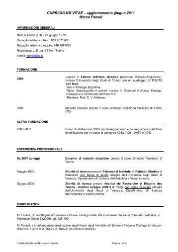 CV_Fanelli 2011 - Dottorato di ricerca in Studi storici e di storia ...