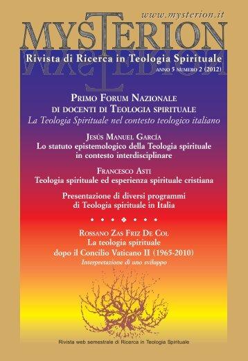 Mysterion - Rivista di Ricerca in Teologia Spirituale
