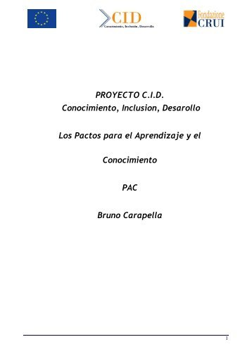 Pacto para el aprendizaje y el conocimiento - Proyecto CID de ALFA III