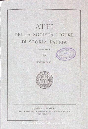 DELLA SOCIETÀ LIGURE DI STORIA PATRIA